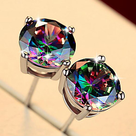 Men's Stud Earrings Classic Precious Trendy Fashion Silver Plated Earrings Jewelry Navy / Multicolor Square / Rainbow For Daily Street 1 Pair