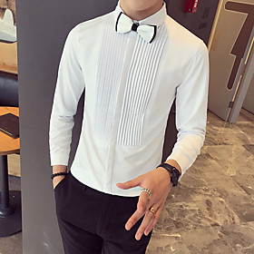 Men's Casual / Daily Shirt Striped Solid Colored Print Long Sleeve Tops Basic White Black