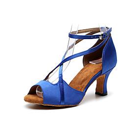 Women's Dance Shoes Latin Shoes / Ballroom Shoes / Line Dance Heel Cuban Heel Customizable Black / Red / Blue / Performance / Leather / Practice