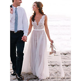 A-Line Wedding Dresses Jewel Neck Sweep / Brush Train Lace Tulle Regular Straps Beach Illusion Detail Backless with 2020