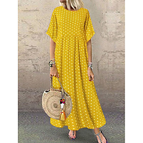 Women's A-Line Dress Maxi long Dress - Short Sleeve Polka Dot Print Summer Plus Size Casual Hot Holiday vacation dresses Loose High Waist 2020 Yellow Wine Navy
