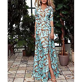 Women's Maxi Swing Dress - Half Sleeve Geometric Print Spring Summer V Neck Vacation 2020 Blue S M L XL