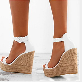 Women's Sandals Wedge Sandals Spring   Fall / Summer Wedge Heel Round Toe Daily Buckle Solid Colored PU White / Gold