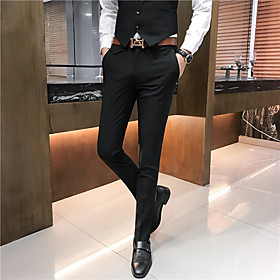 Men's Basic Dress Pants Pants - Solid Colored Light Brown Black Khaki US36 / UK36 / EU44 / US38 / UK38 / EU46 / US40 / UK40 / EU48