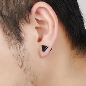 Men's Stud Earrings Classic Precious Punk Trendy Rock Korean Fashion Stainless Steel Earrings Jewelry Black / Silver For Party Carnival Street Club Bar 1 Pair