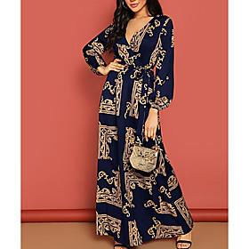 Women's A-Line Dress Maxi long Dress - Long Sleeve Geometric Spring  Summer V Neck Elegant Chiffon 2020 Black Navy Blue S M L XL