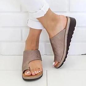 Women's Sandals Flat Sandals Comfort Shoes Bunion Sandals Summer Flat Heel Open Toe Casual Daily Solid Colored PU Leopard / Black / Purple