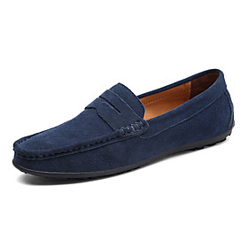 Men's Loafers  Slip-Ons Comfort Shoes Casual Daily Office  Career Pigskin Non-slipping Wear Proof Dark Brown / White / Black