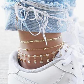 Ankle Bracelet Women's Body Jewelry For Party Daily Alloy Gold 3pcs
