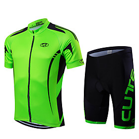 Men's Short Sleeve Cycling Jersey with Shorts Black Bike Clothing Suit Breathable Moisture Wicking Quick Dry Anatomic Design Sports Geometry Mountain Bike MTB
