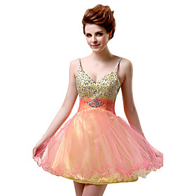 A-Line Cute Cocktail Party Dress Spaghetti Strap Sleeveless Short / Mini Tulle with Beading Sequin 2020