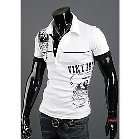 Men's Casual Polo Graphic Print Short Sleeve Tops Cotton Basic Shirt Collar White Black