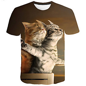 Men's Casual Plus Size T-shirt Graphic Animal Print Short Sleeve Tops Basic Round Neck Green / Summer