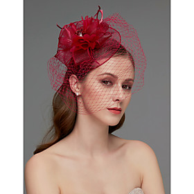 Net Fascinators / Headdress / Headpiece with Feather / Flower / Trim 1 Piece Wedding / Special Occasion / Tea Party Headpiece / Women's