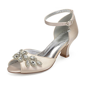 Women's Wedding Shoes Glitter Crystal Sequined Jeweled Plus Size Chunky Heel Peep Toe Classic Basic Wedding Party  Evening Crystal Solid Colored Satin Summer W