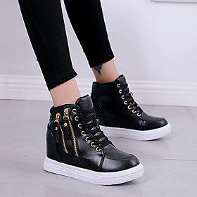Women's Sneakers Hidden Heel PU(Polyurethane) Spring   Fall Black / White