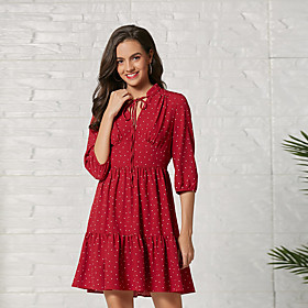 Women's Basic A Line Dress - Polka Dot Print Red L XL XXL