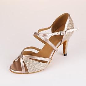 Women's Dance Shoes Latin Shoes / Ballroom Shoes / Line Dance Heel Slim High Heel Customizable Beige / Performance / Leather / Practice