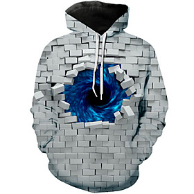 Men's Hoodie 3D Hooded Casual Hoodies Sweatshirts  Gray