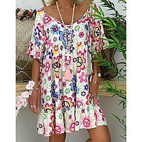 Women's Tunic Knee Length Dress - Short Sleeve Floral Print Summer Basic White Blue Red Light Blue M L XL XXL 3XL 4XL 5XL