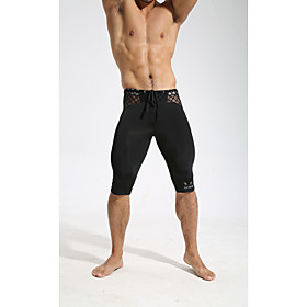 Men's Compression Pants Elastic Waistband See Through Sports Leggings Running Fitness Gym Workout Quick Dry Moisture Wicking Soft Solid Colored White Black Yel