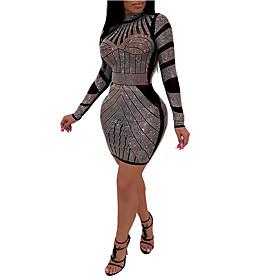 Women's Sheath Dress Short Mini Dress - Long Sleeve Color Block Sequins Crew Neck Slim Black S M L XL