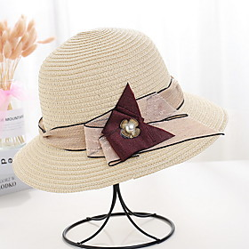 Women's Basic Polyester Sun Hat-Solid Colored Brown White Beige