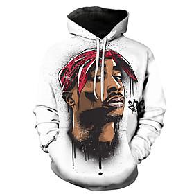 Men's Hoodie 3D Portrait Hooded Casual Basic Hoodies Sweatshirts  White