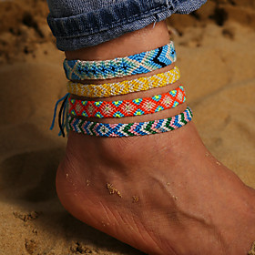 Ankle Bracelet Artistic Casual / Sporty Men's Body Jewelry For Street Traveling Braided Basketwork Yellow Green Blue 4pcs / Women's