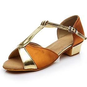Women's Girls' Latin Shoes Heel Thick Heel Satin Glitter Black / Red / Blue / Performance / Leather