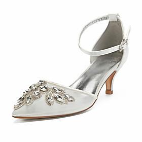 Women's Wedding Shoes Kitten Heel Pointed Toe Rhinestone / Sequin Mesh Vintage / British Spring  Summer Black / White / Champagne / Party  Evening