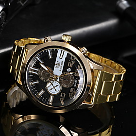 Men's Dress Watch Quartz Casual Watch Analog Classic - Black Gold