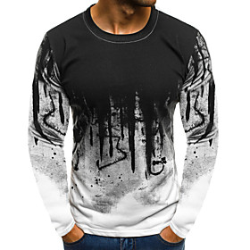 Men's Athleisure T-shirt Geometric Color Block Print Long Sleeve Tops Streetwear Punk  Gothic Round Neck White Red Army Green