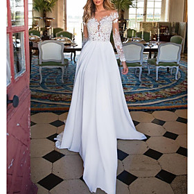 A-Line Wedding Dresses V Neck Sweep / Brush Train Chiffon Lace Long Sleeve Romantic Illusion Sleeve with Beading 2020
