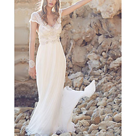 A-Line Wedding Dresses V Neck Sweep / Brush Train Chiffon Lace Short Sleeve Beach Illusion Detail with Beading Draping 2020