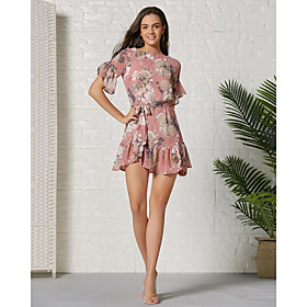 Women's Basic A Line Dress - Floral Ruffle Patchwork Print Blushing Pink L XL XXL