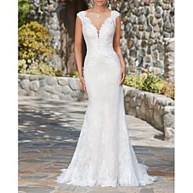 Mermaid / Trumpet Wedding Dresses V Neck Sweep / Brush Train Lace Cap Sleeve Glamorous Sexy Illusion Detail with 2020