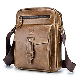 Men's Bags Cowhide Crossbody Bag Zipper Solid Color for Daily / Outdoor Black / Yellow / Brown / Fall  Winter