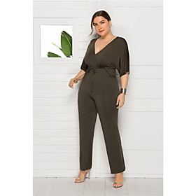 Women's Wine Army Green Red Jumpsuit Onesie, Solid Colored L XL XXL