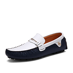 Men's Loafers  Slip-Ons Business / Classic / Casual Daily Office  Career Walking Shoes Nappa Leather Breathable Non-slipping Wear Proof White / Black / Blue Sp