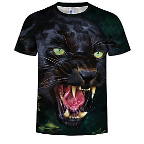 Men's 3D Graphic Print T-shirt Holiday Daily Wear Round Neck Black / Short Sleeve / Animal