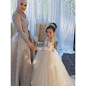 Ball Gown Sweep / Brush Train Wedding / First Communion / Pageant Flower Girl Dresses - Lace / Satin / Tulle Long Sleeve Boat Neck with Lac
