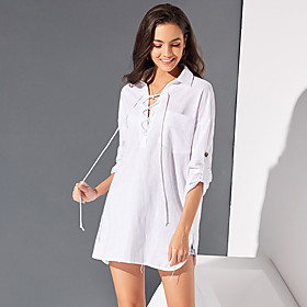 Women's Daily Wear Office Business Cotton Loose Shirt - Solid Colored Lace up Shirt Collar White