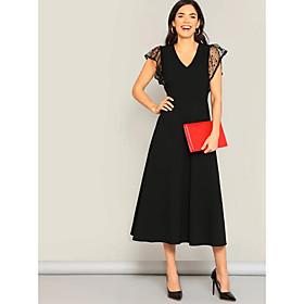 Women's A Line Dress - Solid Colored Blue Black Wine L XL XXL