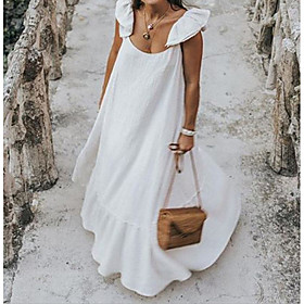 Women's Plus Size Maxi Swing Dress - Sleeveless Ruffle Strap Elegant Street chic Loose White Black S M L XL XXL XXXL XXXXL XXXXXL