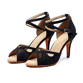 Women's Latin Shoes Heel Slim High Heel Suede Buckle Black / Performance / Practice