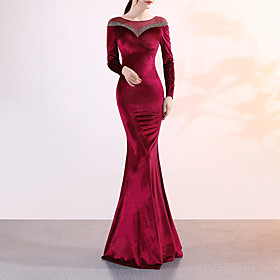 Mermaid / Trumpet Elegant  Luxurious Sexy Formal Evening Dress Jewel Neck Long Sleeve Sweep / Brush Train Velvet with Crystals 2020