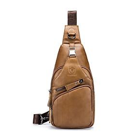 Men's Bags Cowhide Sling Shoulder Bag / Chest Bag Zipper Solid Color for Date Black / Brown / Coffee