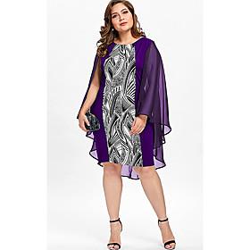 Women's Shift Dress Sleeveless Abstract Patchwork Print Boho Oversized Black Purple Red Light Blue XL XXL 3XL 4XL 5XL