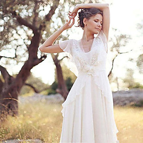 A-Line Wedding Dresses V Neck Sweep / Brush Train Chiffon Short Sleeve Country Casual Boho Little White Dress See-Through with Beading Appliques 2020